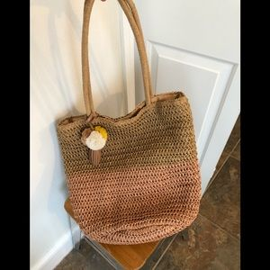 Old Navy Color Blocked Straw Beach Tote Bag NEW